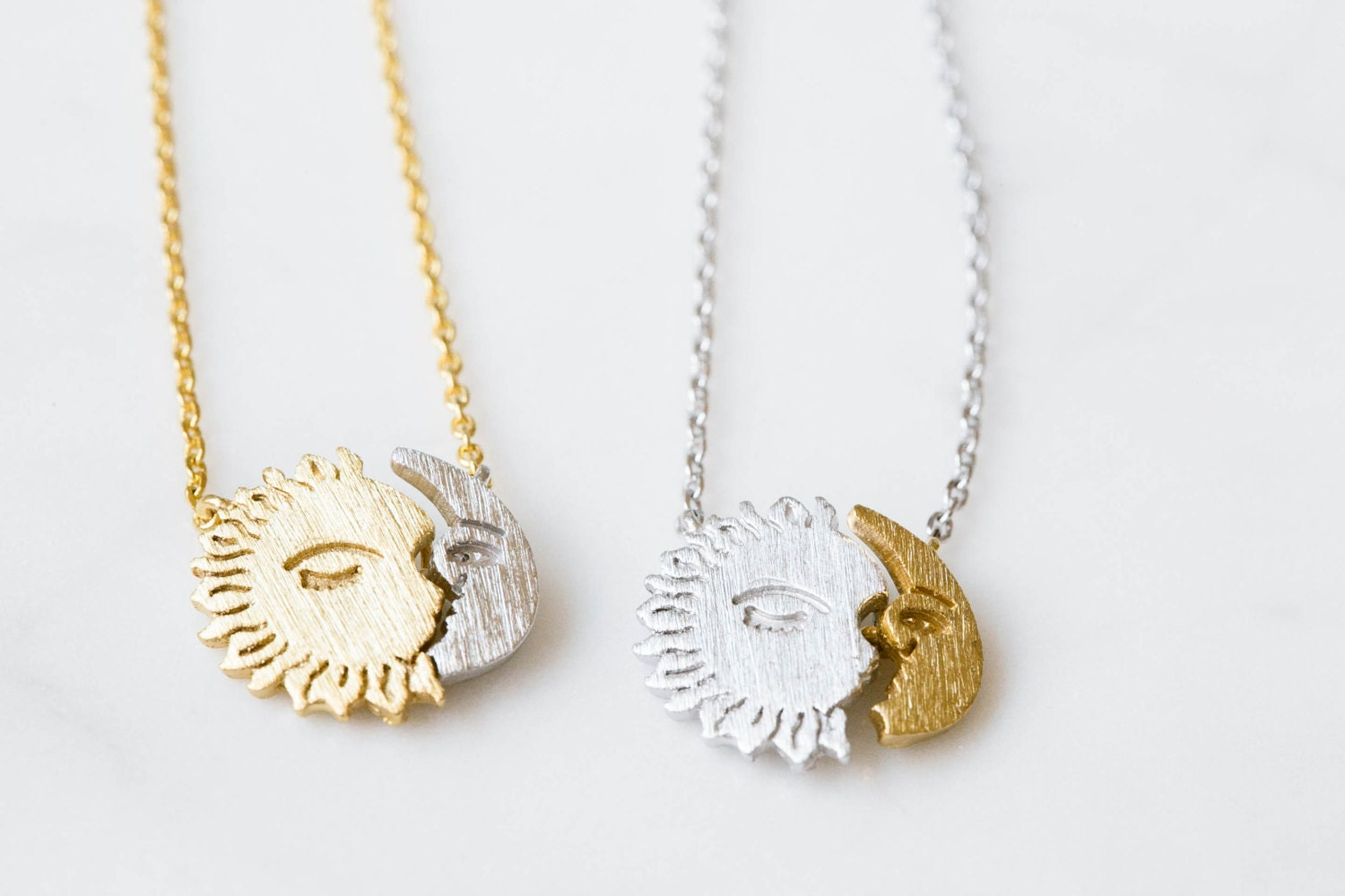 Twitches necklace on the hunt half sun moon necklace2 pendant necklacesun moon face necklacewomens mozeypictures Gallery