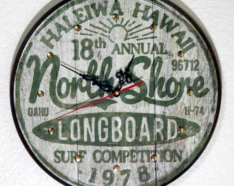 Hawaii North Shore ( Surfing ) Wall Clock - 11.75 Diameter - New
