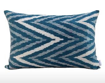 Silk Ikat Pillow: Waves