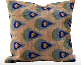 Velvet Ikat Pillow: Shoal
