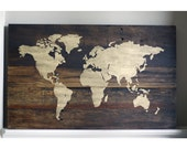 Rustic World Map Wood Sign with Upgrade