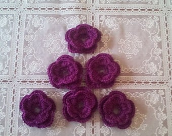 crochet flowers, curochet flowers set of 6, appliques, craft supplies, sewing supplies