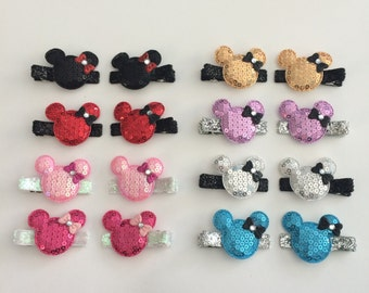 Minnie Mouse hair clips, Disney inspired hair clips, 1 pair or 1 clip you choose color.