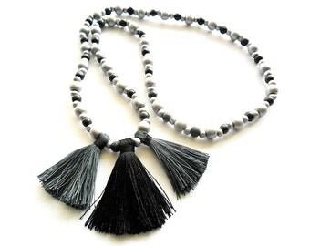 necklace Boho Style - silver / handmade