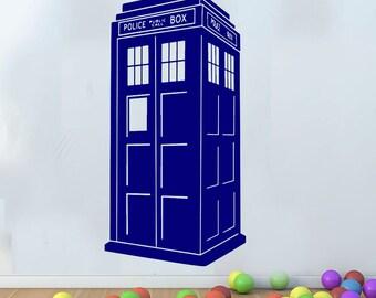 Large Doctor Who DR Tardis Wall Art Decal Mural Sticker Kids Bedroom Children