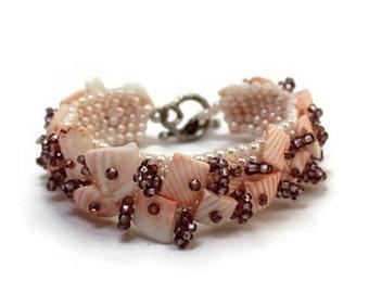 Blush bracelet, beadwoven, pale peach, summer jewelry, light beach wrist bracelet, pale coral bangle, beadworks, ready to ship