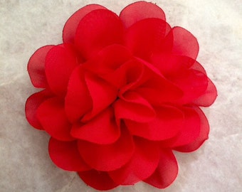 Chiffon flower, large flower, red flower, lace flower, flower puff, flower supplies, DIY supplies,