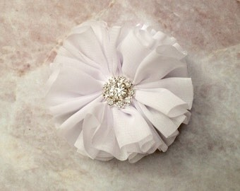 White Ballerina flower, chiffon flower, rhinestone flower, fabric flower, headband flower, supply flower, ballerina flower