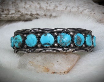 Vintage Collection ~ Kingman Turquoise Sterling Silver Navajo Row Cuff / Southwestern Jewelry
