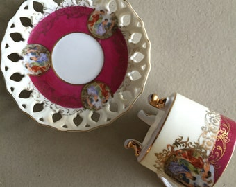 Royal Halsey Cup & Saucer Very Fine China in Burgundy and Gold