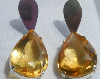 28.5 carat Citrine Marquis Cut Earrings  November Birthstone Earrings - Gemstone Earrings -  Tear Drop earrings