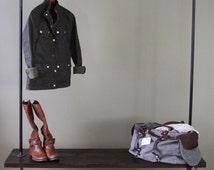 Garment Rack Reclaimed Wood Clothing Rack Vintage Rolling Closet Rack