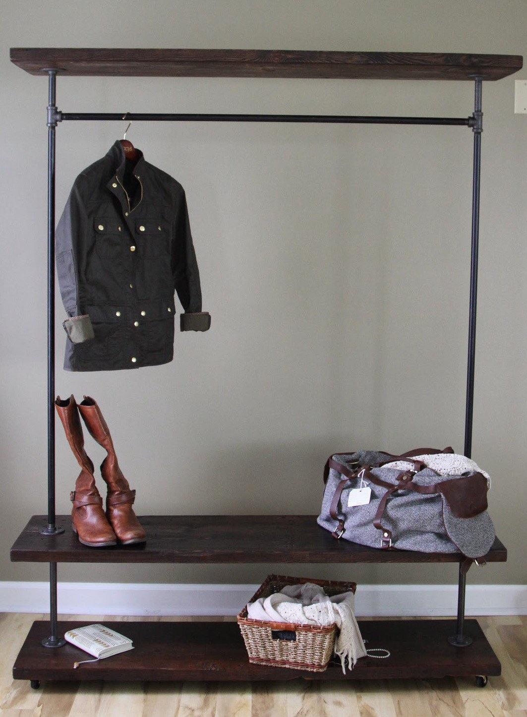 garment rack reclaimed wood clothing rack vintage rolling. Black Bedroom Furniture Sets. Home Design Ideas
