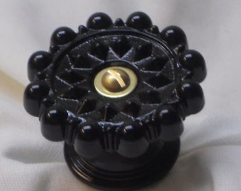 Victorian Style Drawer Pull or Door Knob in Black Glass