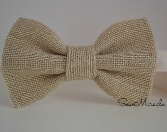 Burlap bow tie, handmade accessory, baby bow tie, child bow tie, mens bow tie, perfect accessory for wedding, birthday, special occasion.