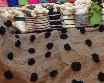 hand loomed moroccan spotted blanket -natural gray with black