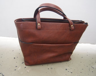 brown italian vintage Leather Tote Bag, Leatherbag, Weekender, for Mens, for Women