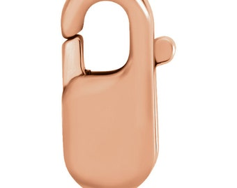 14kt Rose Gold 8.5x3.25mm Long Lobster Clasp, Lobster Claw Clasp, Rose Gold Material