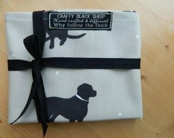 Large Tea Towel-Chocolate Labrador on Duck Egg Blue