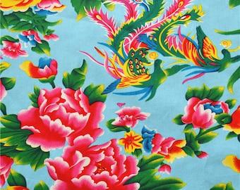 vintage fabric Chinese peony furnishings blue half meter 0.5m