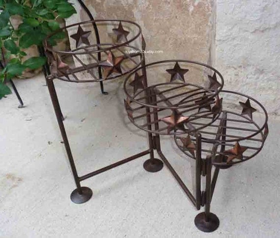 Three Tier Western Star Metal Plant Stand By Toysfrom70s