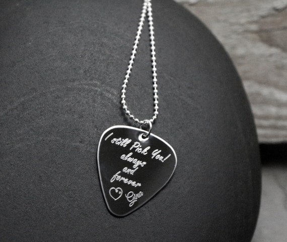 sale personalized guitar pick necklace by bellozzidesigns. Black Bedroom Furniture Sets. Home Design Ideas