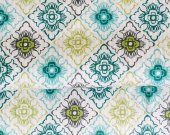 Teal Green Lime Medallion Tile Moroccan Fabric Green Trio