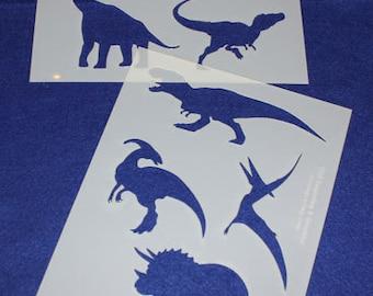 "2 Piece Dinosaur Set  8"" x 10"" - Stencil-  14 Mil Mylar"