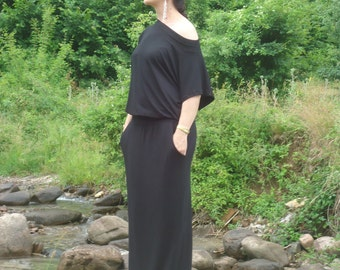 Elegant black oversized maxi dress /Plus size dress /Party dress/ Summer Kaftan /Long black dress with pockets/All sizes available Us Uk Eu