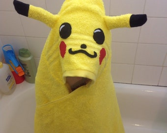 Pokemon Pikachu inspired towel /kids hooded towel/ Pikachu hoodie howel/pokemon go