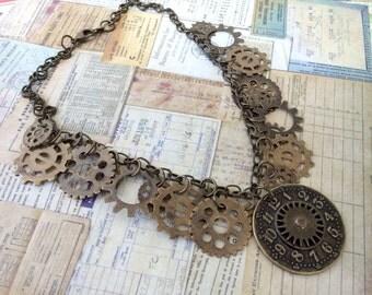 Steampunk Watch Gear Necklace, Antique Brass Necklace, Steampunk Jewelry, Watch Part Dial Necklace, Watch Dial, Steampunk Necklace