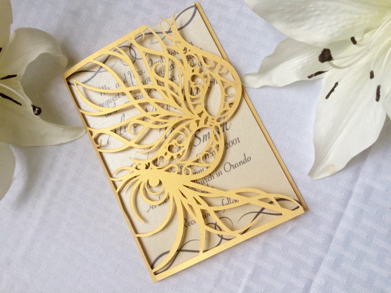 Masquerade Wedding Invitations: Laser Cut Gold Mask Party Wedding Invitation By