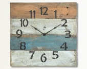 Decor Beach Clock for Nautical Decorating in White, Gold & Blue Aqua - Laguna