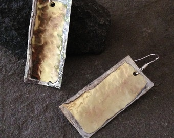 Hammered Brass Metal Rectangle Earrings, recycled, hand cut