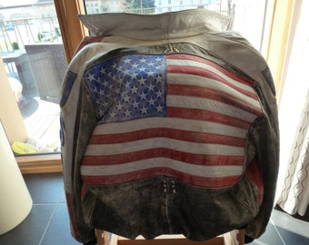 flag American vintage leather jacket