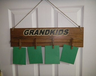 Picture Display, Carved Wood, Wall Display,  Hand Carved, Wood Carved Display, Grandkid Picture Display, Adjustable Hangers.