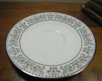 Noritake Eminence Saucer - Gray and White Floral and Scroll
