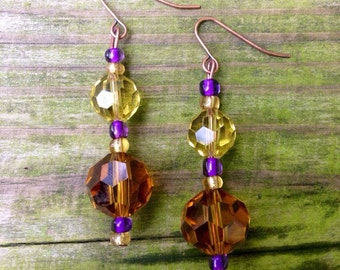 Unique Dangling Beaded Earrings in Purple and Gold with Copper Accents.