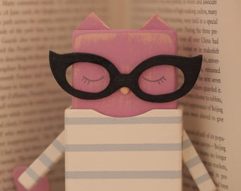 Handmade Cat  Art Doll with stamp,Handmade wooden Art doll,Handcrafted wood  doll