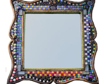 Mosaic mirror, mixed media art mirror 23 x 23 frame, 15 x 15 mirror, 1 1/2 thick