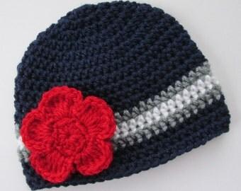 New England Patriots Hat Crochet Baby Newborn Child Adult Girl