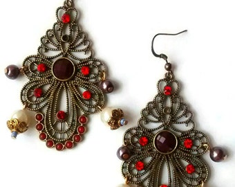 Large Statement Earrings, Victorian Earrings, Dark Red Earrings, Gothic Earrings, Goth Earrings, Halloween Costume Earrings, Victorian