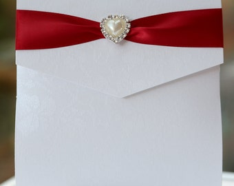 Red Heart Pocketfold Wedding Invitation Crystal & Pearl Brooch