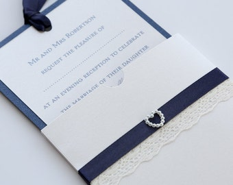 Ivory Lace and Navy Wallet with Pearl Heart A6