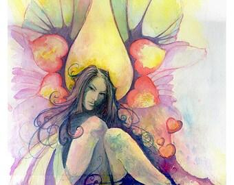 Naughty 'V', Original art, unique watercolour faerie, fantasy fine art