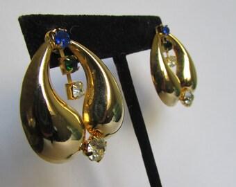 Vintage earring- Gold drop earrings- 90s Jewelry