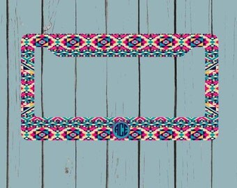 Monogram License Plate Frame - Aztec Tribal License Plate Frame - Monogram Car Tag Front License Plate Personalized Plate