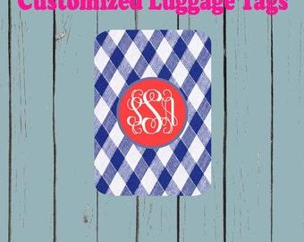 Blue and White Gingham print  Monogram Name Luggage Tag - Luggage Tag Monogrammed
