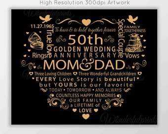 Wedding Anniversary Gift For Mom N Dad : ... mom dad mum and dad 50th golden wedding anniversary paper black and