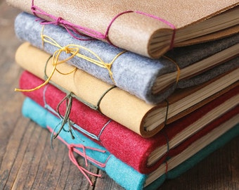 Little Jotters - hand bound notebooks, diary, sketchpad, in felt and leather